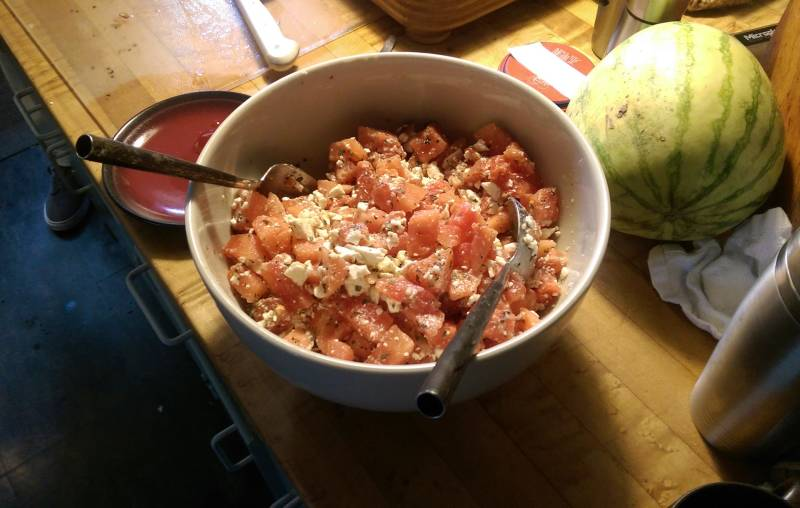A watermelon and feta salad Subhi and Fred made together.