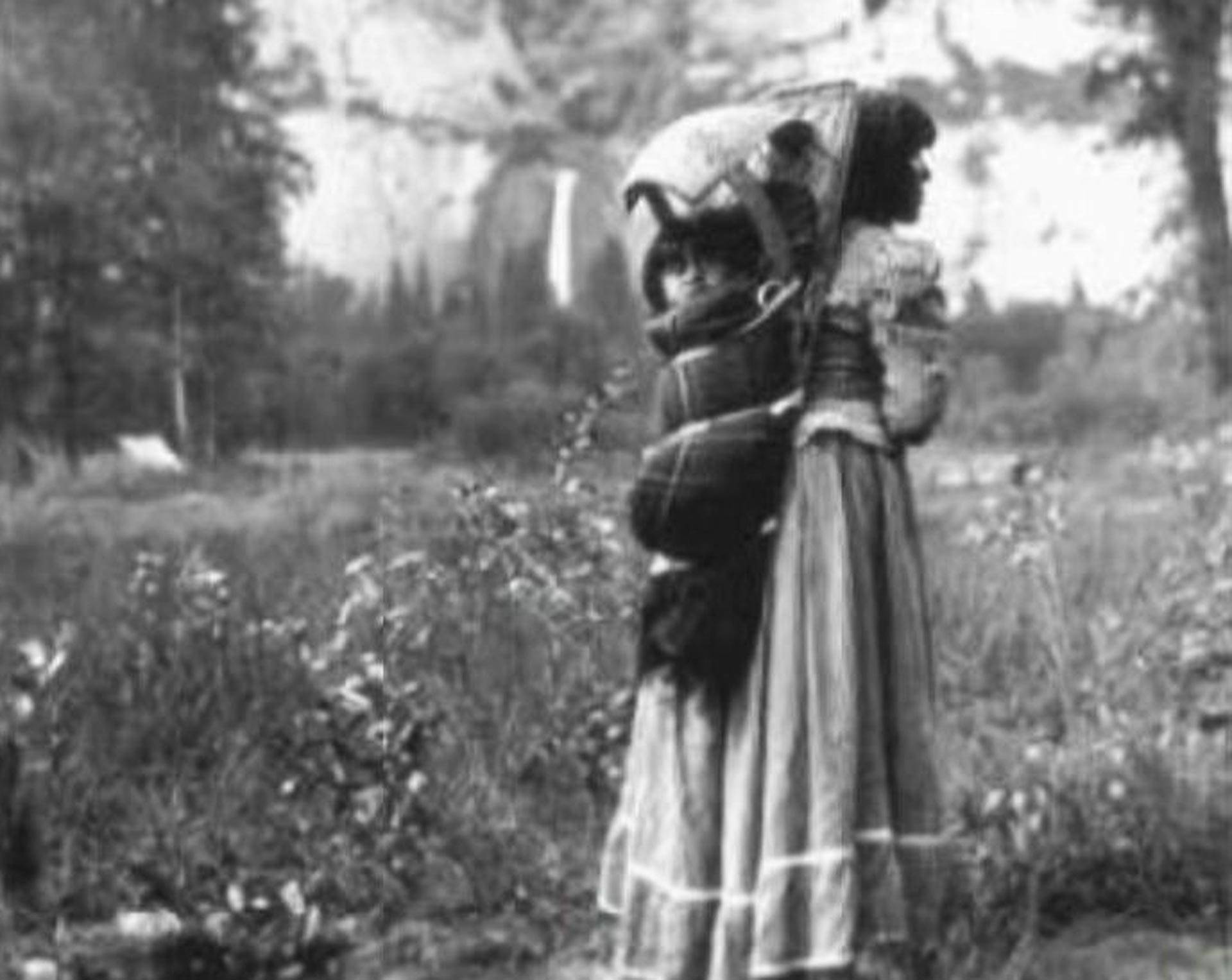 A young Paiute mother carries her child in a cradleboard in Yosemite Valley.