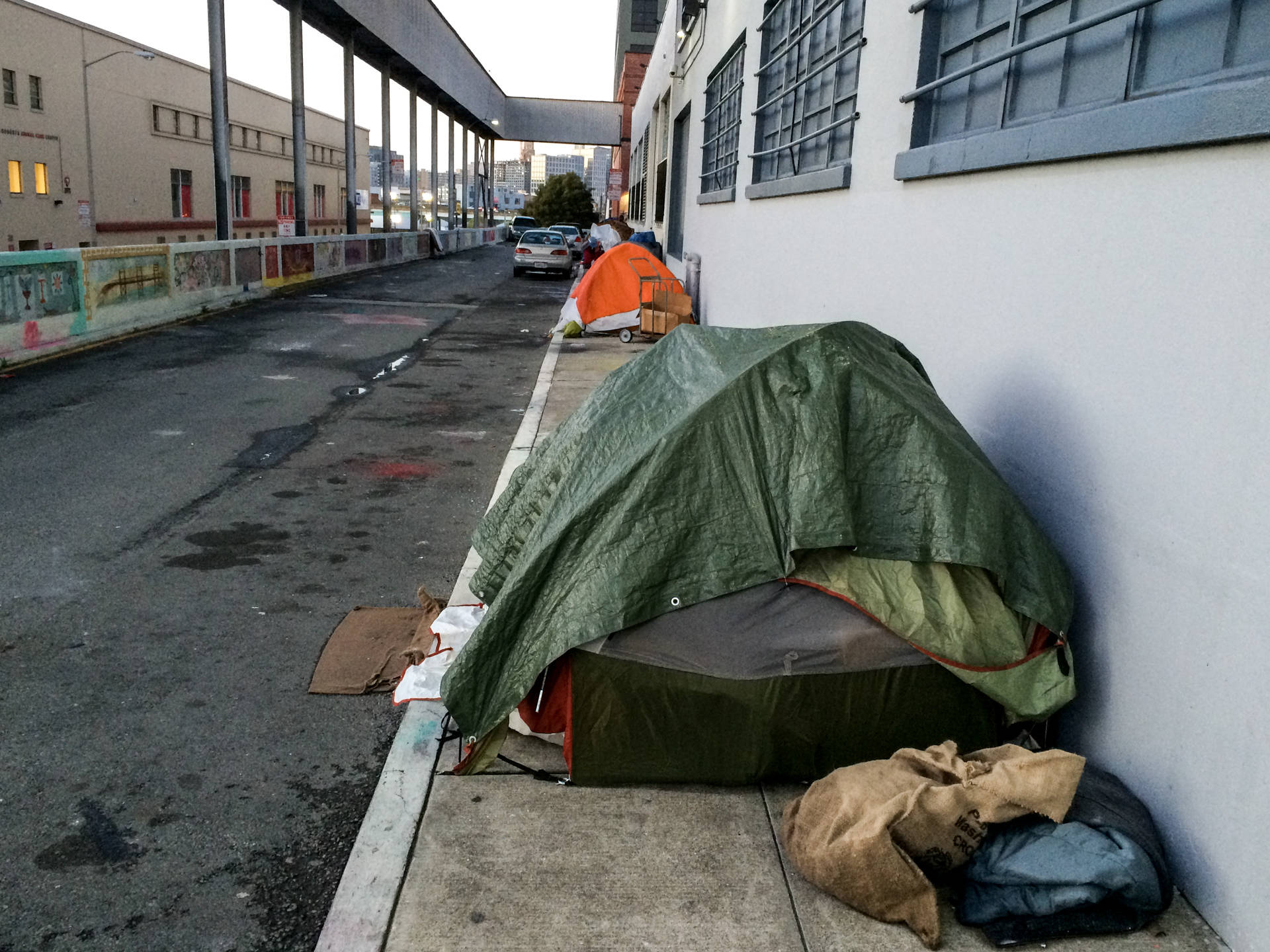 Tents pitched Monday night (March 7, 2016) on Florida Street, north of 16th Street, in northeastern corner of Mission District.