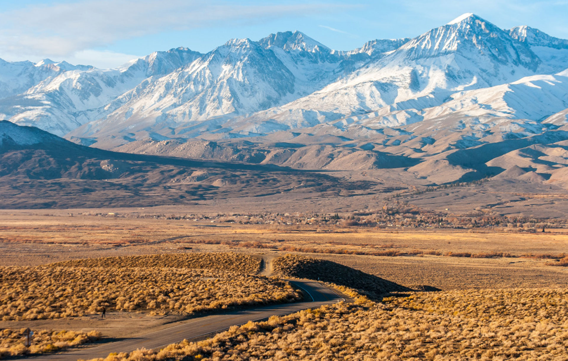 Big Pine, in the Owens Valley south of Bishop. The Sierra Nevada snowpack in a typical year provides almost a third of California's water supply.