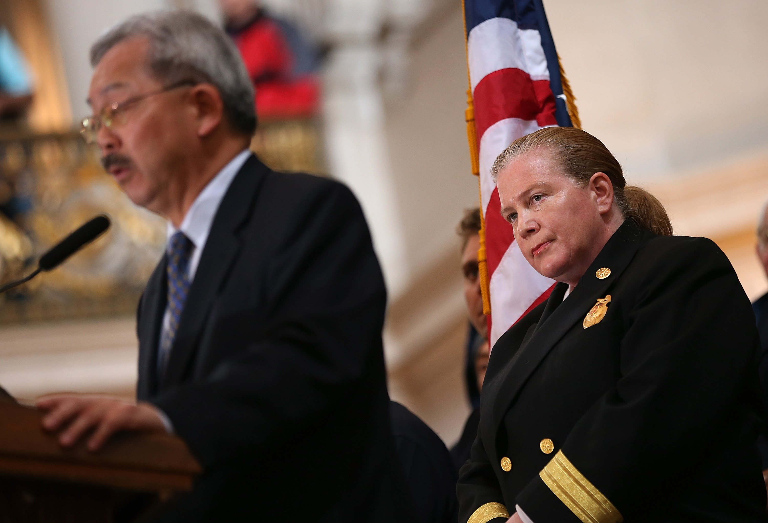 San Francisco Mayor Ed Lee and Fire Chief Joanne Hayes-White in 2014.