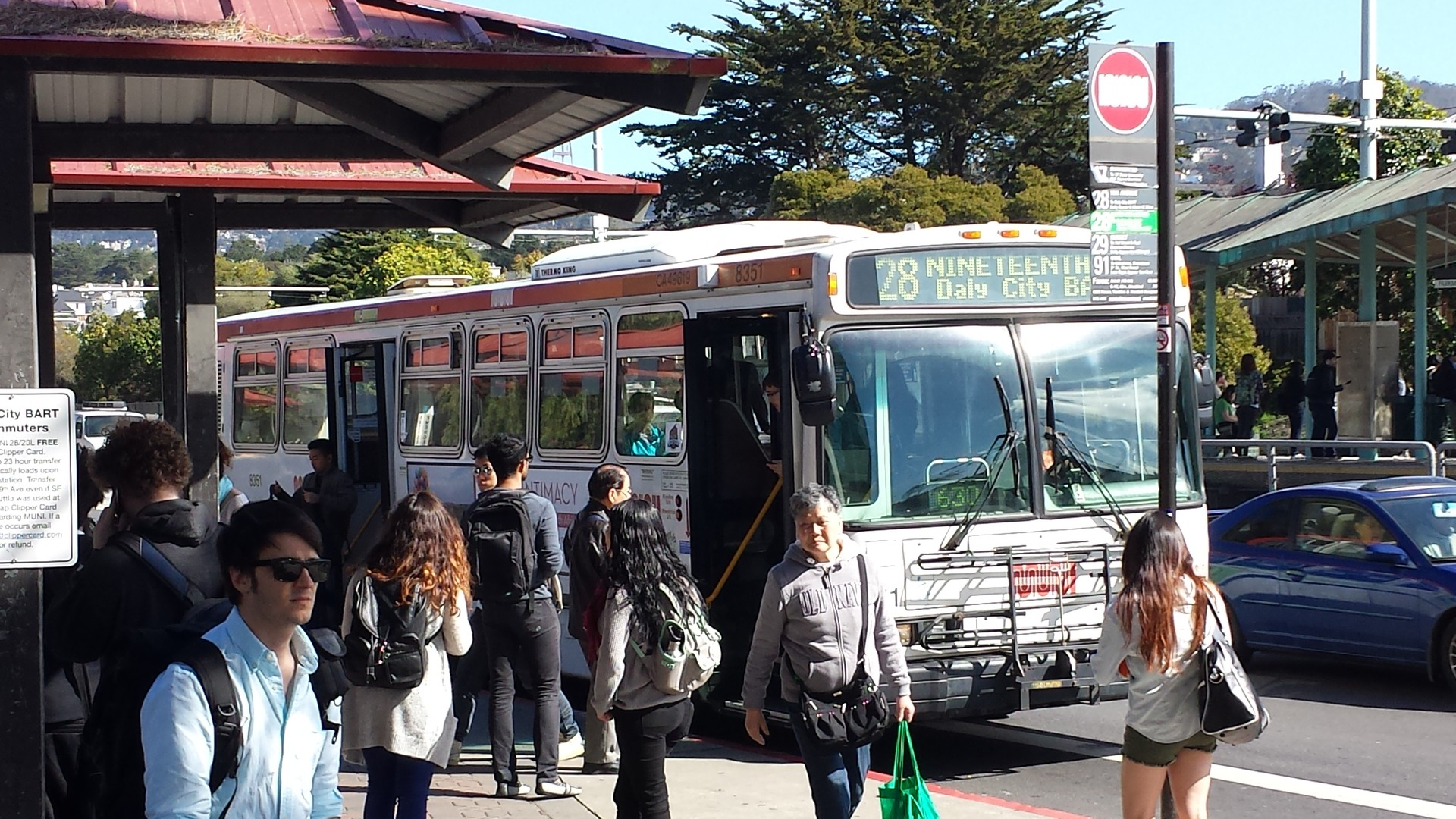 A Muni bus stops at 19th and Holloway avenues, near San Francisco State University, on March 17, 2014.
