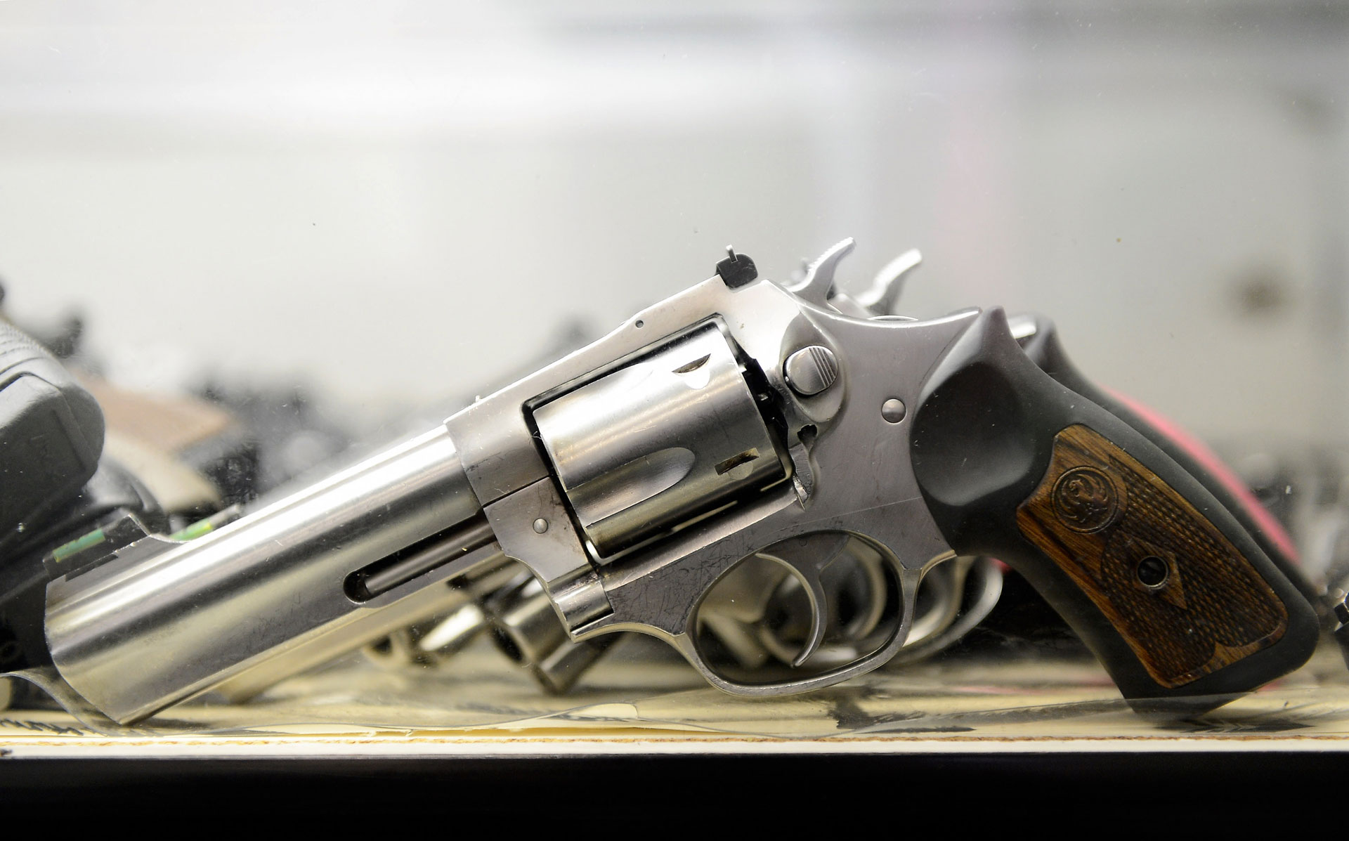 A .357 magnum revolver is displayed for customers at the Los Angeles Gun Club in 2012.