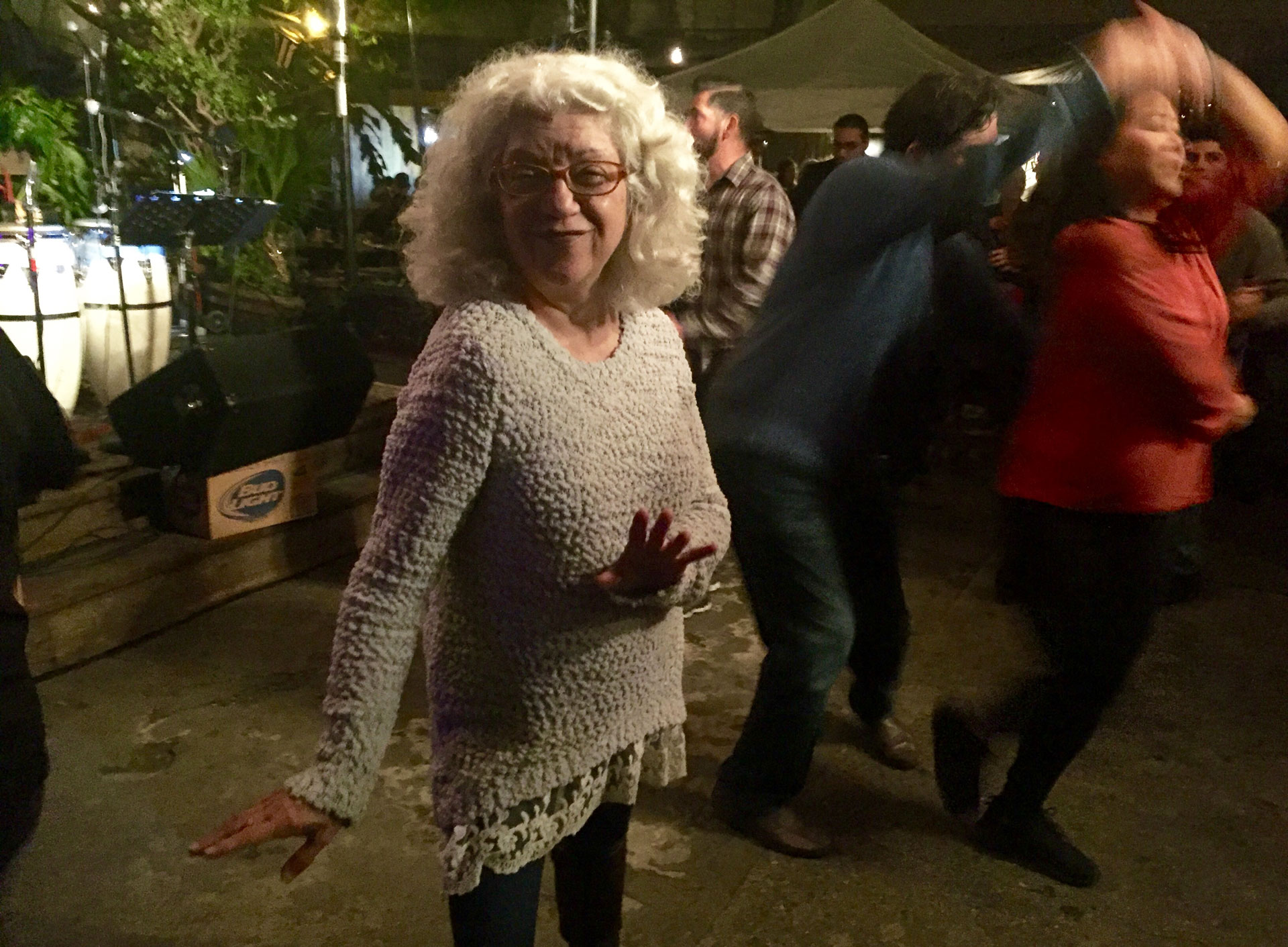 Irma Iñiguez, a long-time dancer, shows off her salsa skills during San Francisco Mission District bar El Rio's Salsa Sunday.
