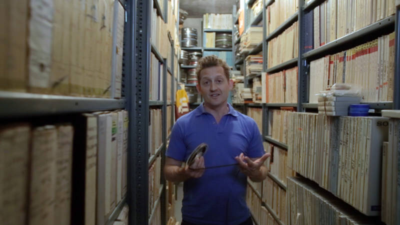 """""""Who the F*@% Is Frank Zappa"""" director Alex Winter inside the Frank Zappa Vault at the late musician's longtime Hollywood Hills home."""
