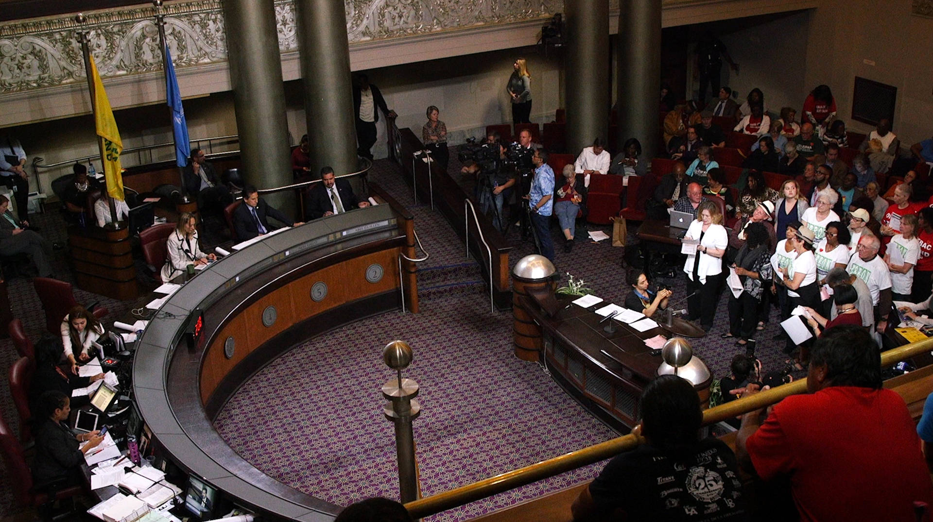 People wait to speak about the rent moratorium ordinance before the Oakland City Council in City Hall on April 5, 2016.