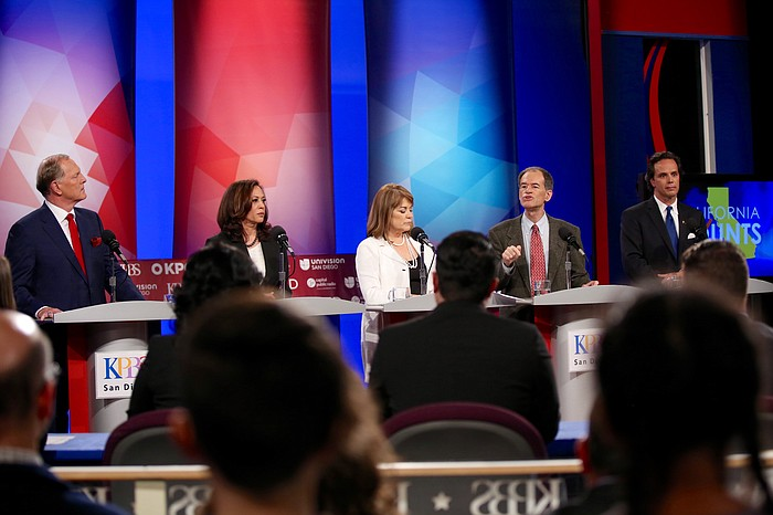 From left to right: Duf Sundheim, Kamala Harris, Loretta Sanchez, Ron Unz, Tom Del Beccaro at a debate at KPBS in San Diego, May 10, 2016.