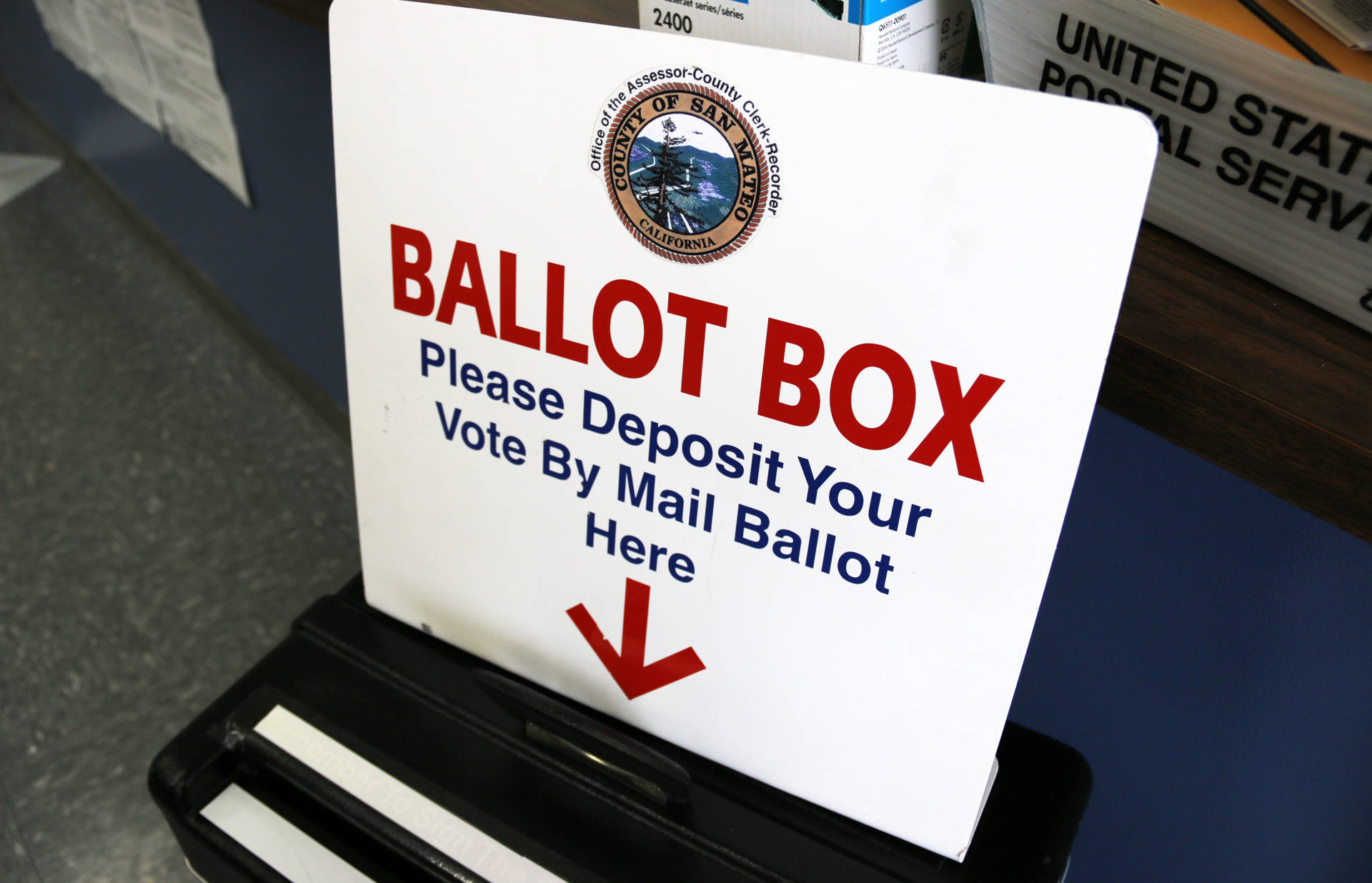 A drop-off ballot box in San Mateo County.