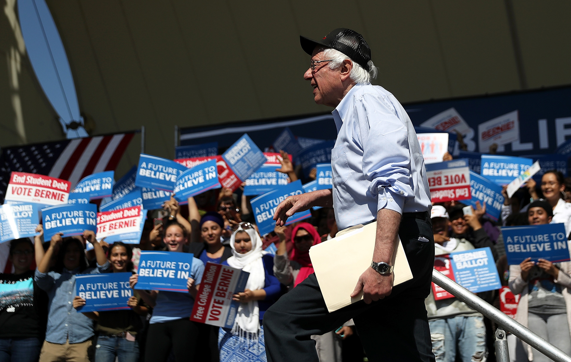 Sen. Bernie Sanders arrives to speak at a campaign rally on May 10, 2016 in Stockton.
