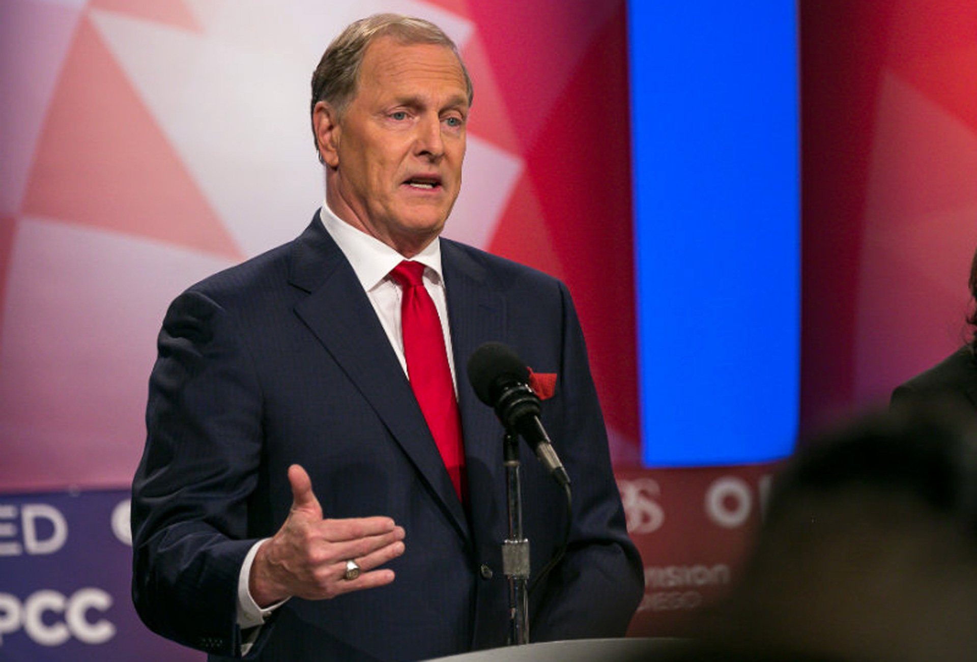 Republican U.S. Senate candidate Duf Sundheim makes a point during Tuesday's debate.