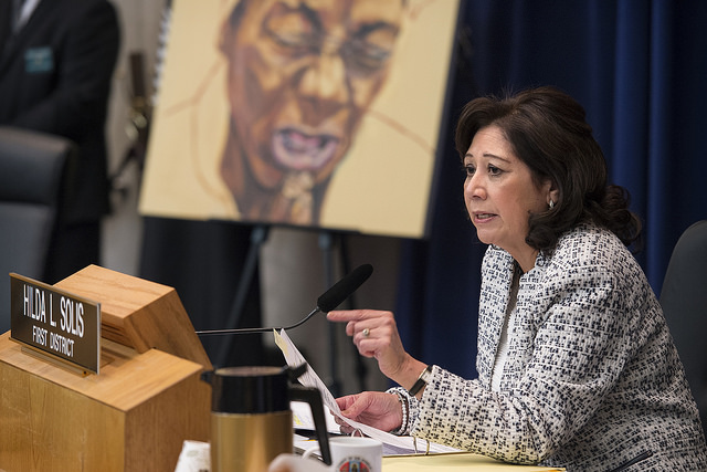 Los Angeles County supervisor Hilda Solis during a February 2016 hearing.