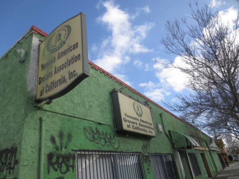 A view of the abandoned Yemeni American Grocers Association, where the 4th medical marijuana dispensary may be located in Smith's neighborhood.