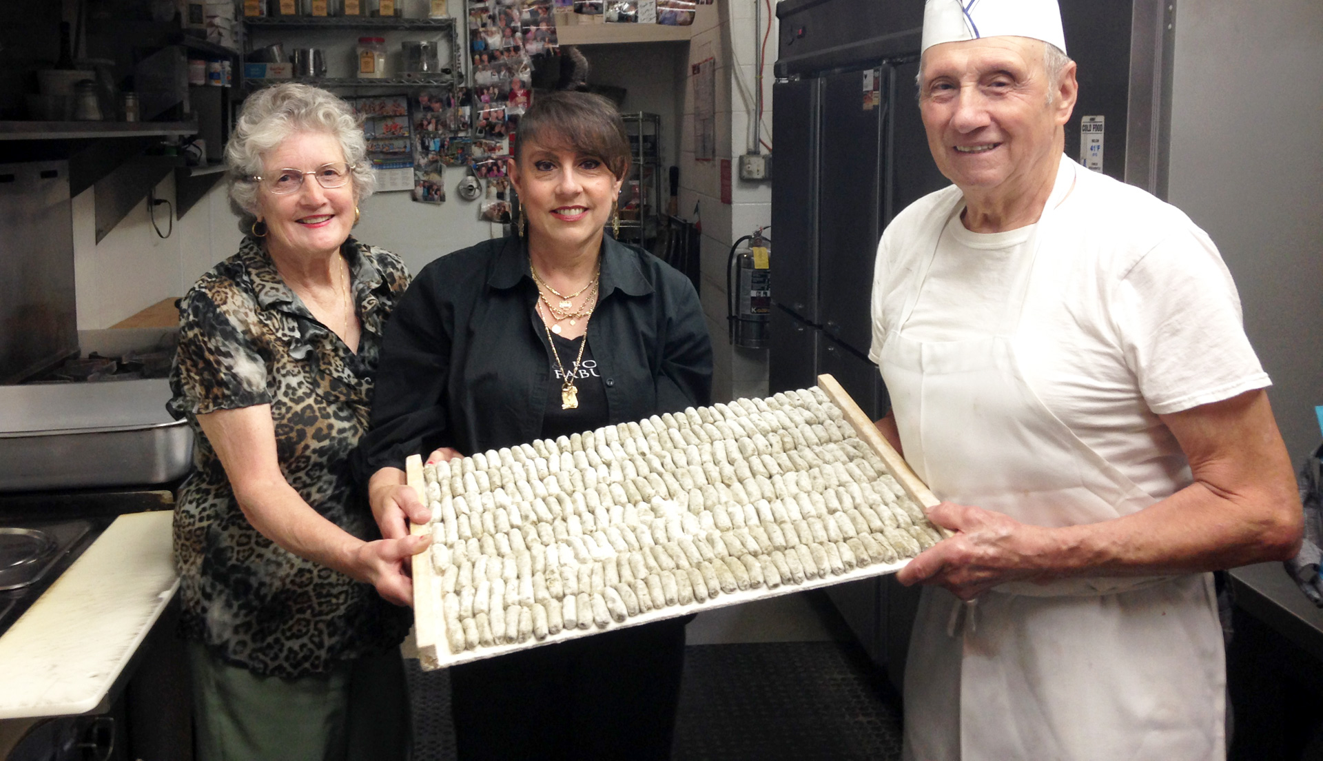 Mary Cittoni, Joanne Cittoni Gonzales and Clemente Cittoni all work together, making malfatti and other recipes he learned from Theresa Tamburelli at The Depot Restaurant.