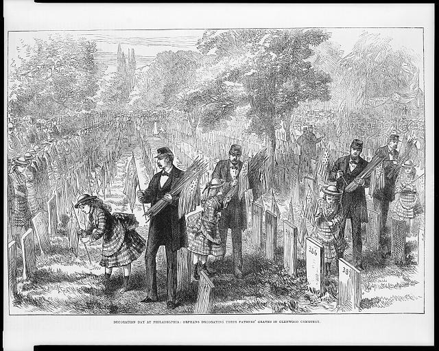 Wood engraving of orphans decorating their fathers' graves in Glenwood Cemetery, Philadelphia, on Decoration Day.