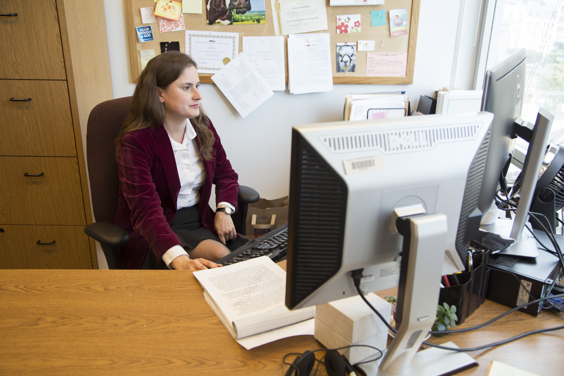Anne Hadreas an attorney with Disability Rights California works in her office in Oakland, California.