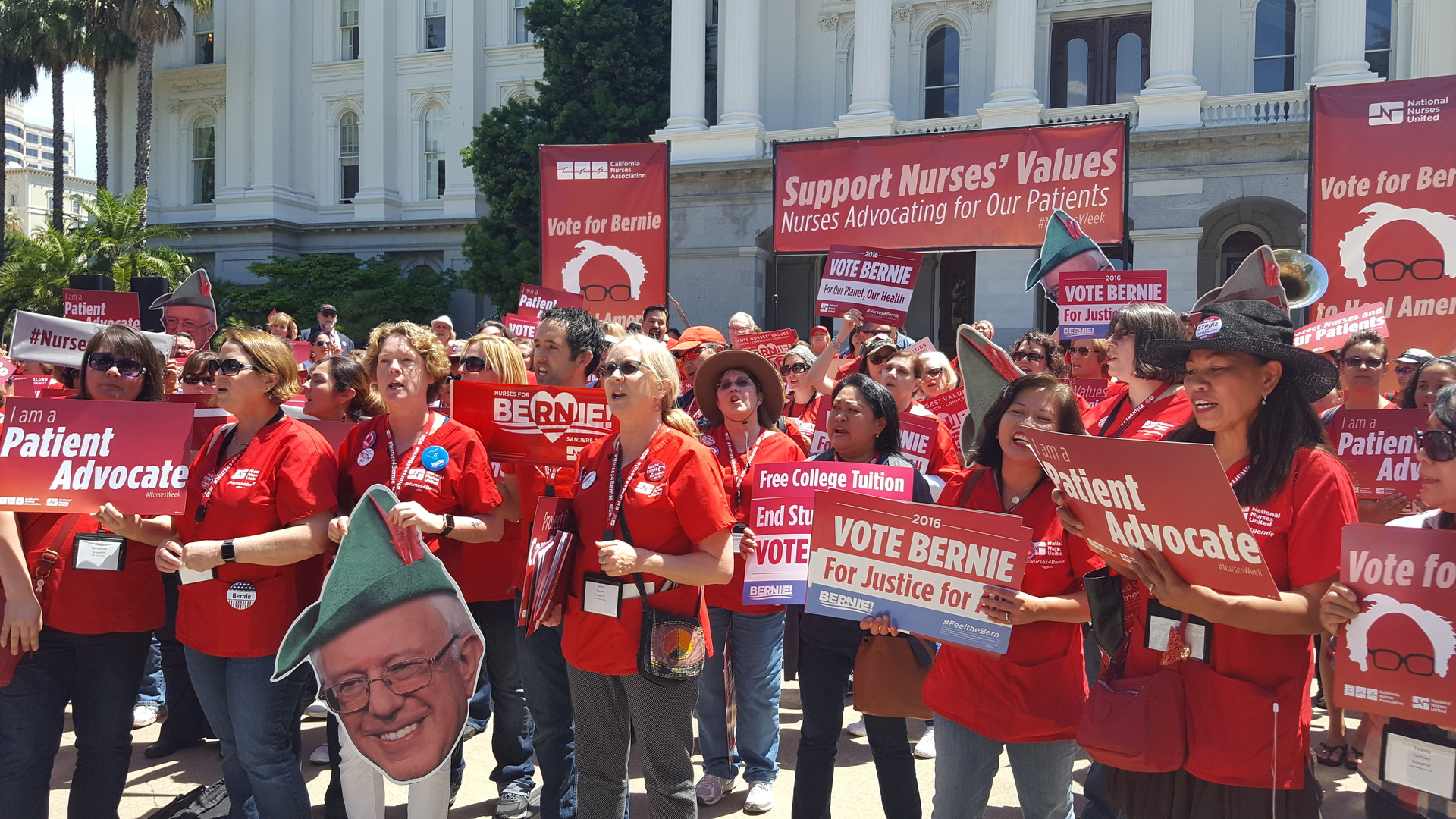 Members of the California Nurses Association and National Nurses United rally for Sen. Bernie Sanders outside the California Capitol on Wednesday, May 11, 2016.