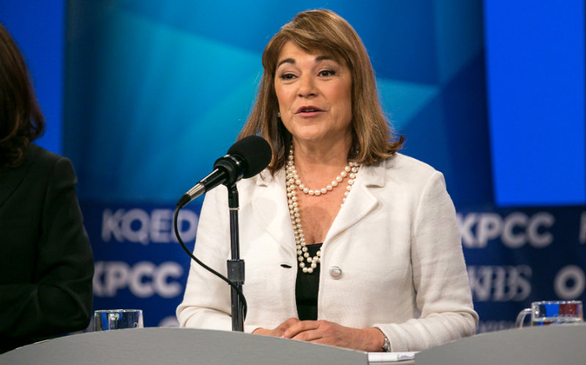 Democratic U.S. Senate candidate Loretta Sanchez speaks during Tuesday's debate.