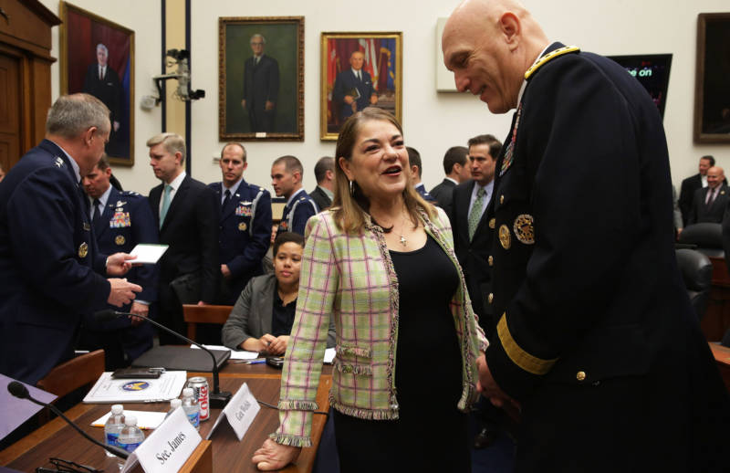 Loretta Sanchez talks with Army Chief of Staff Gen. Raymond Odierno before a hearing about the FY2016 National Defense Authorization Budget Request on Capitol Hill on March 17, 2015.