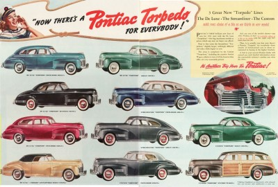 An advertisement of 1941 Pontiacs from a magazine.