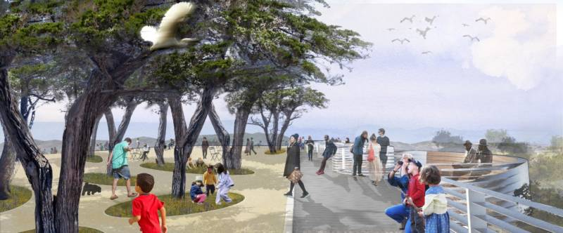 A rendering of Hilltop Park on Yerba Buena Island.