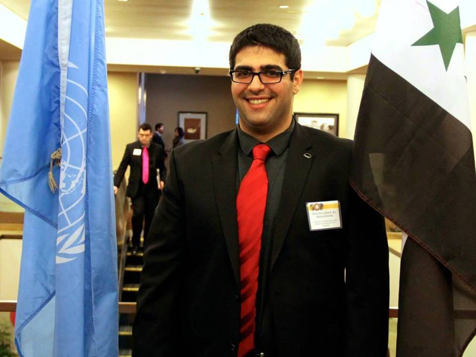 Khairuldeen Makhzoomi stands at a Model United Nations event in San Francisco, CA.