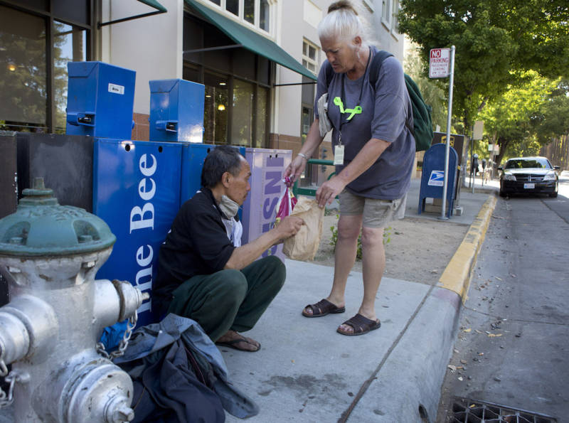 Debbie Bartley helps homeless people around the state Capitol.