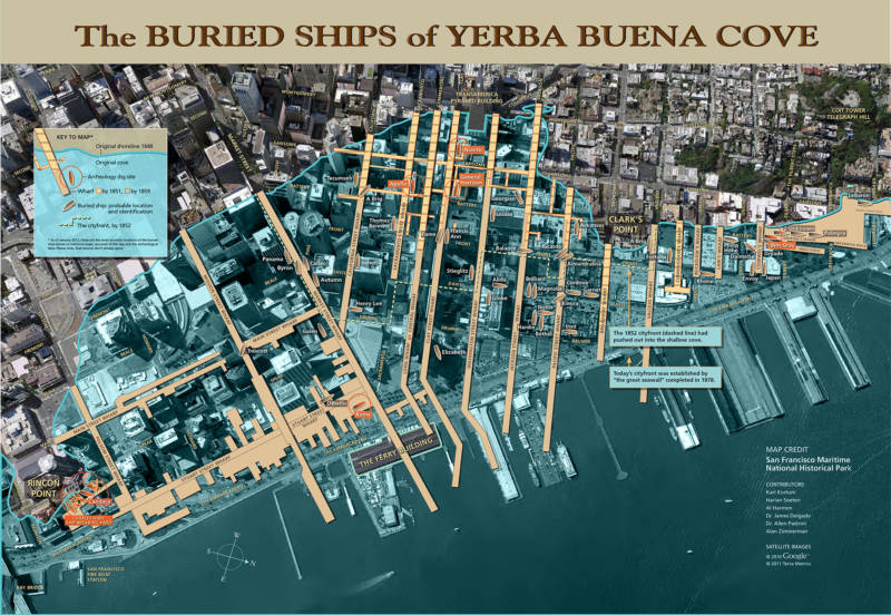 A map of the buried ships under San Francisco.