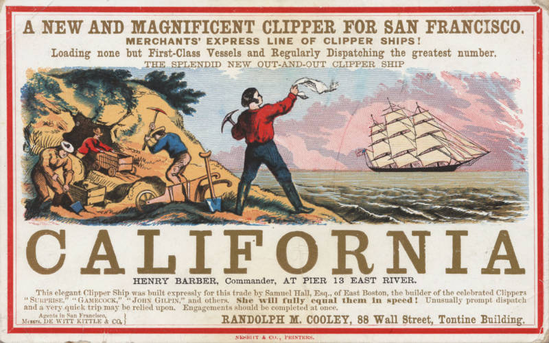 An advertisement for a line of ships bringing passengers to the Gold Rush.