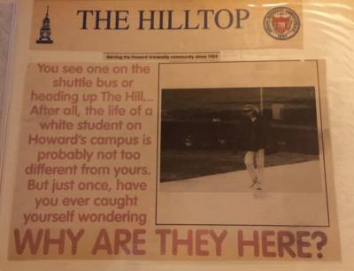 A clipping that Haven saved from the university newspaper featuring a front-page story about white students at Howard.