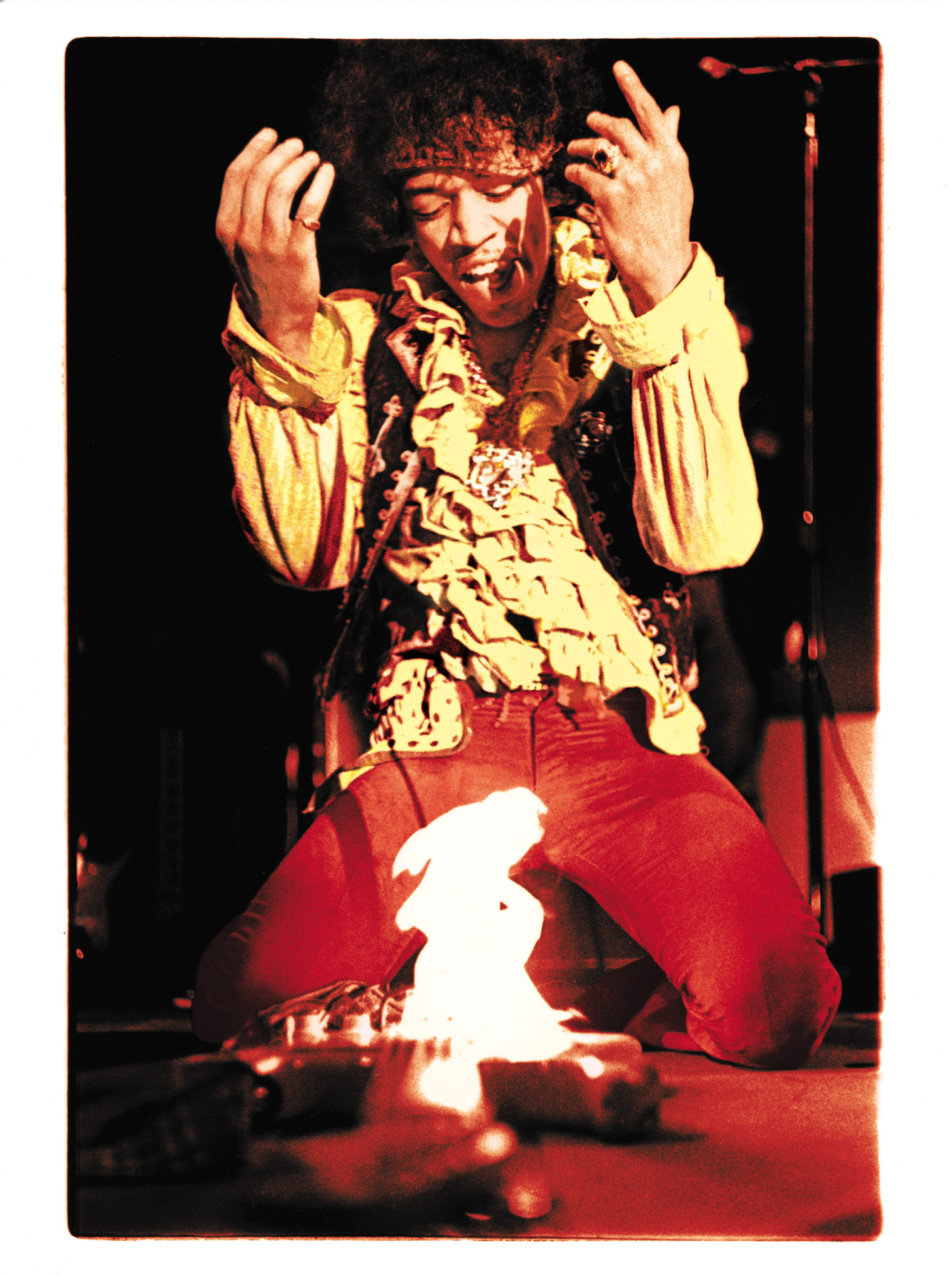 Ed Caraeff's photo of Jimi Hendrix burning his guitar at the Monterey International Pop Festival on June 18, 1967. Taken with a camera borrowed from his family optometrist when Caraeff was a high school junior, the photo made the cover of Rolling Stone, twice, in the decades since the festival.