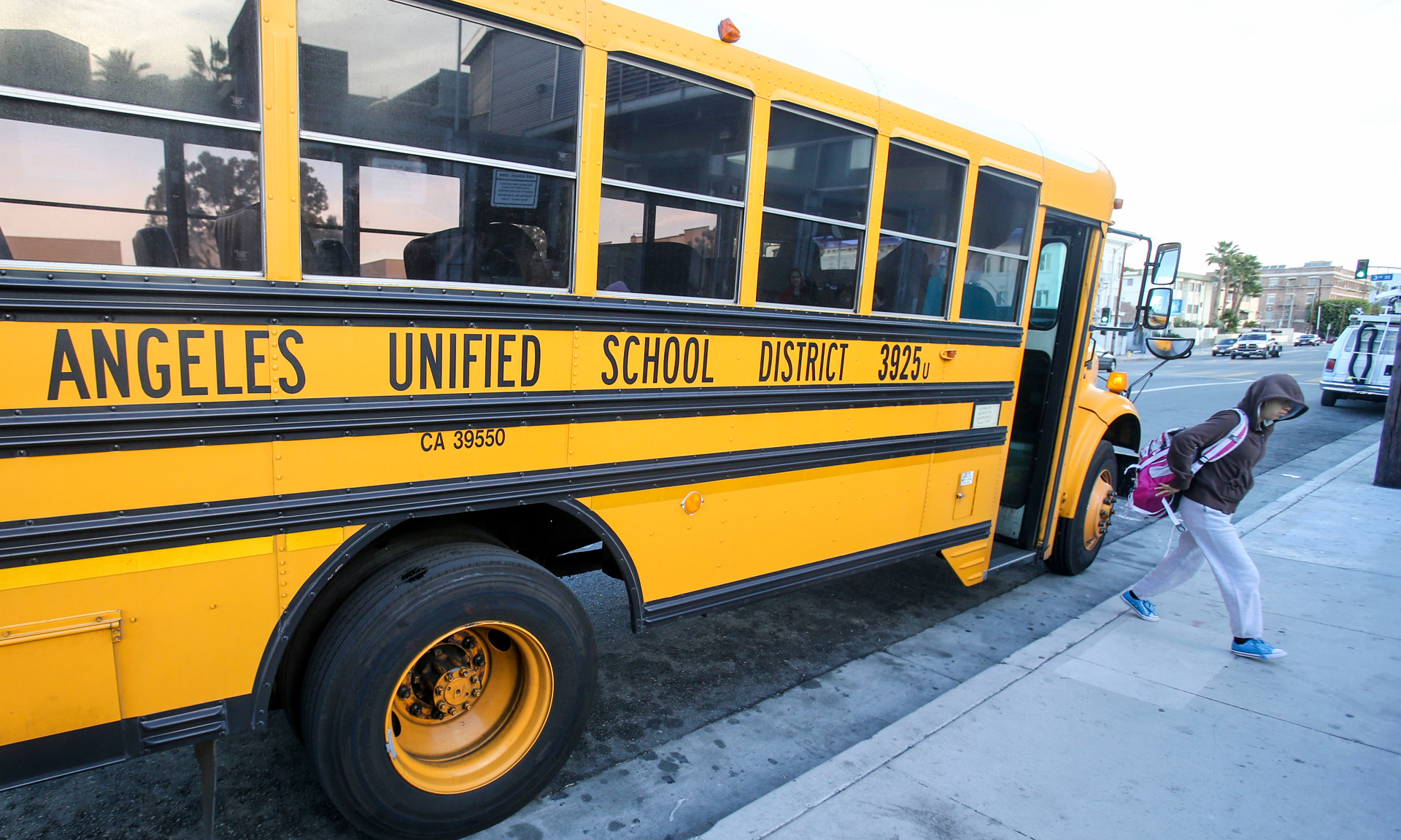 Students arrive at a Los Angeles Unified school in December, 2015.