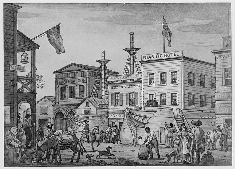 An illustration of early San Francisco where old ships were converted into buildings.