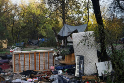 Goods that cannot be hauled away by residents are left at the Jungle in San Jose, Calif. on Wednesday, Dec. 4, 2014. The city of San Jose cleared out the part of Coyote Creek that was home to around 300 people.