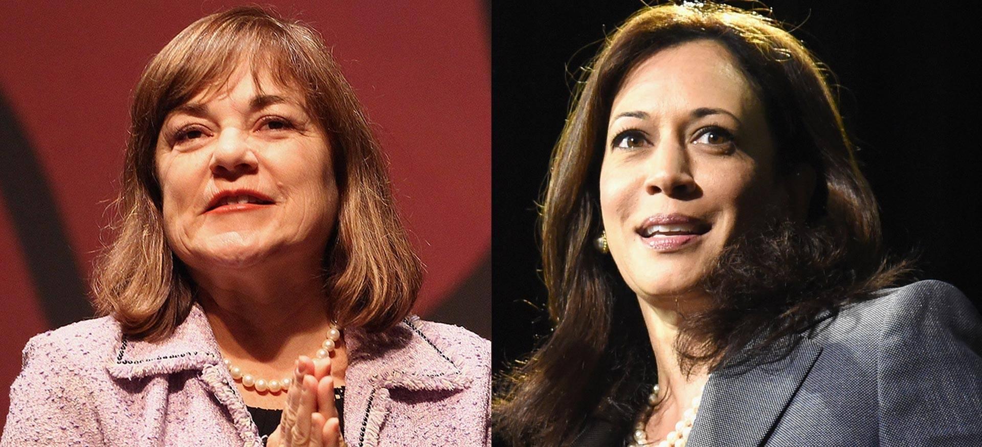 U.S. Senate candidates Rep. Loretta Sanchez (L) and Attorney General Kamala Harris.