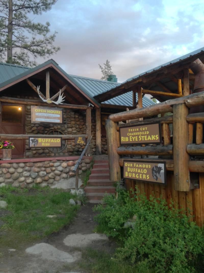 The resort's restaurant serves hearty food like elk and buffalo burgers.