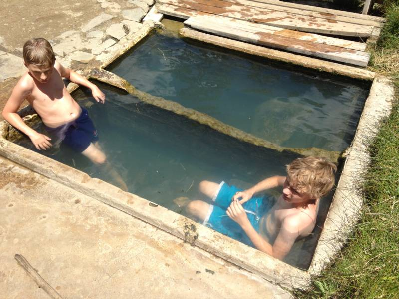 Asher and Atticus Boone enjoy one of the natural springs built by the CCC in the 1930s.