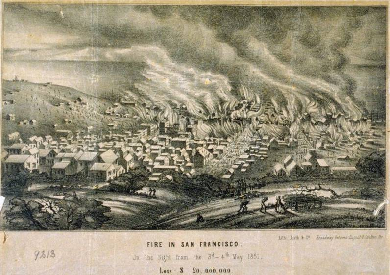 A print depicting the San Francisco Fire in May 1851. Losses allegedly totaled $20,000,000 (Courtesy of the De Young Legion of Honor)