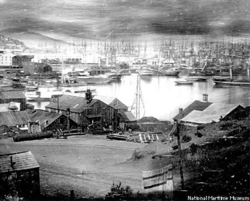 The waterfront in 1851 (San Francisco Maritime Museum National Historical Park)