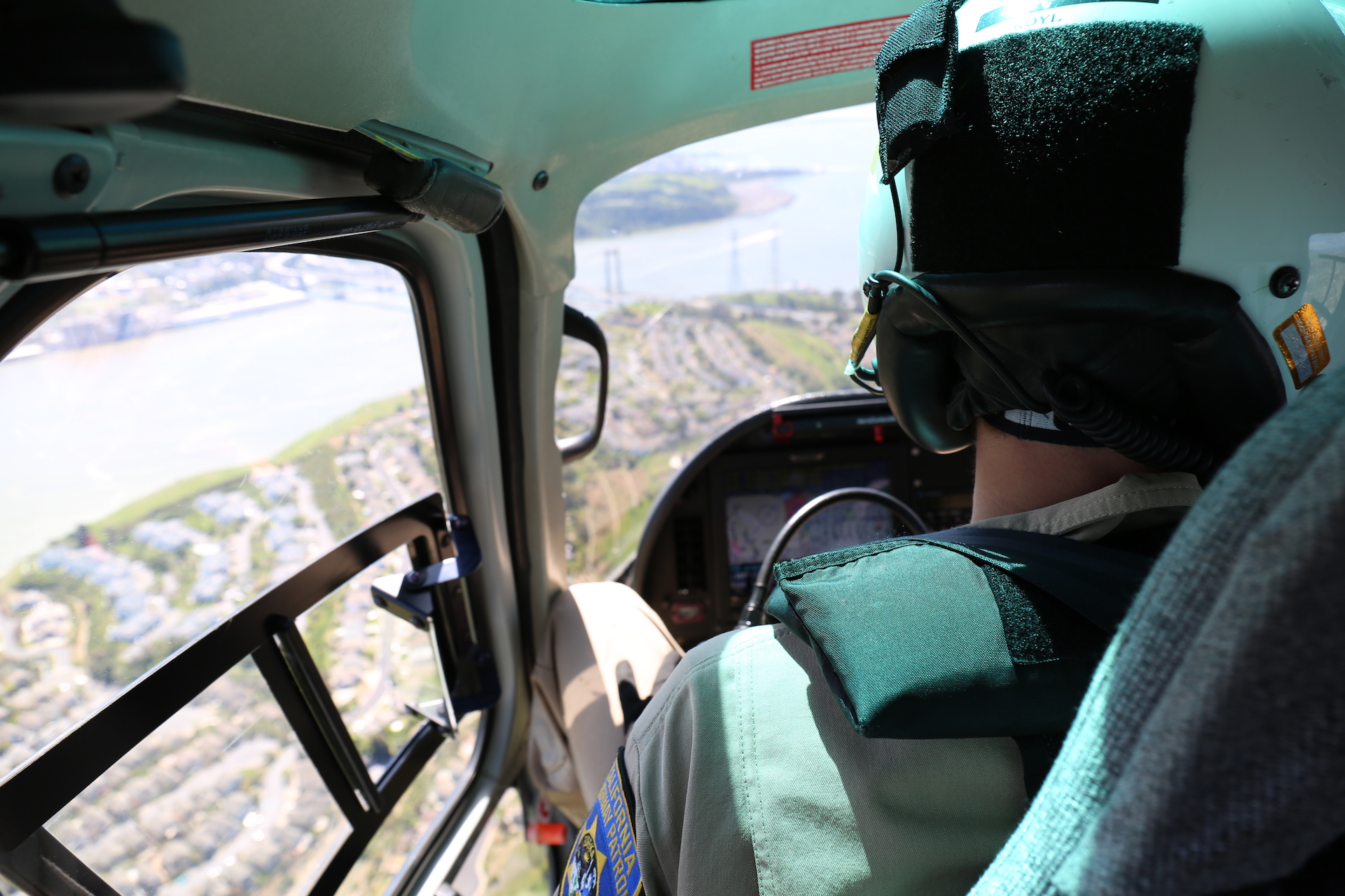 The view of the Carquinez Bridge from inside a CHP helicopter.