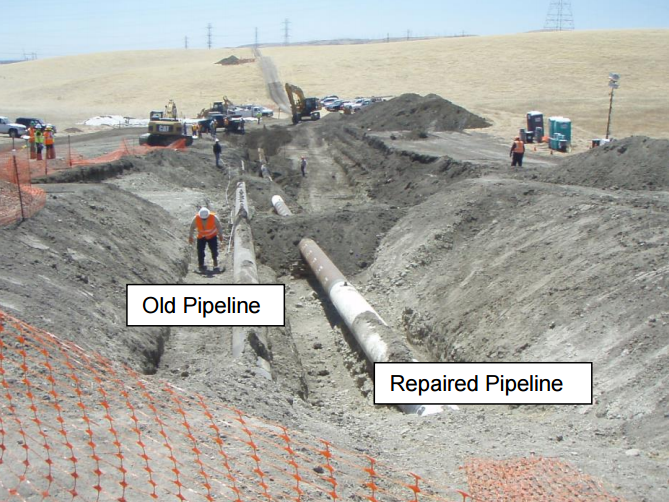 Image from Central Valley Water Quality Control Board report on Shell Oil's May 20 pipeline break. Picture shows inactive older pipeline and newer pipeline that ruptured, spilling about 21,000 gallons of oil.