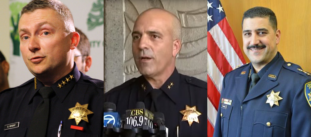 (L-R) Former Oakland police chiefs Sean Whent, Ben Fairow and Paul Figueroa.