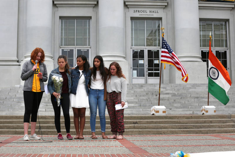 Dana Alpert (left), Hannah Rowe, Aaliyah Parker, Savreen Saran, and Mackenzie Monroe who are all floormates of Tarishi Jain spoke during a vigil for the 19-year-old UC Berkeley which was held on UC Berkeley's campus in Berkeley, Calif. on July 5, 2016. Jain was one of the victims of an attack at a Dhaka cafe in Bangladesh on July 2, 2016.
