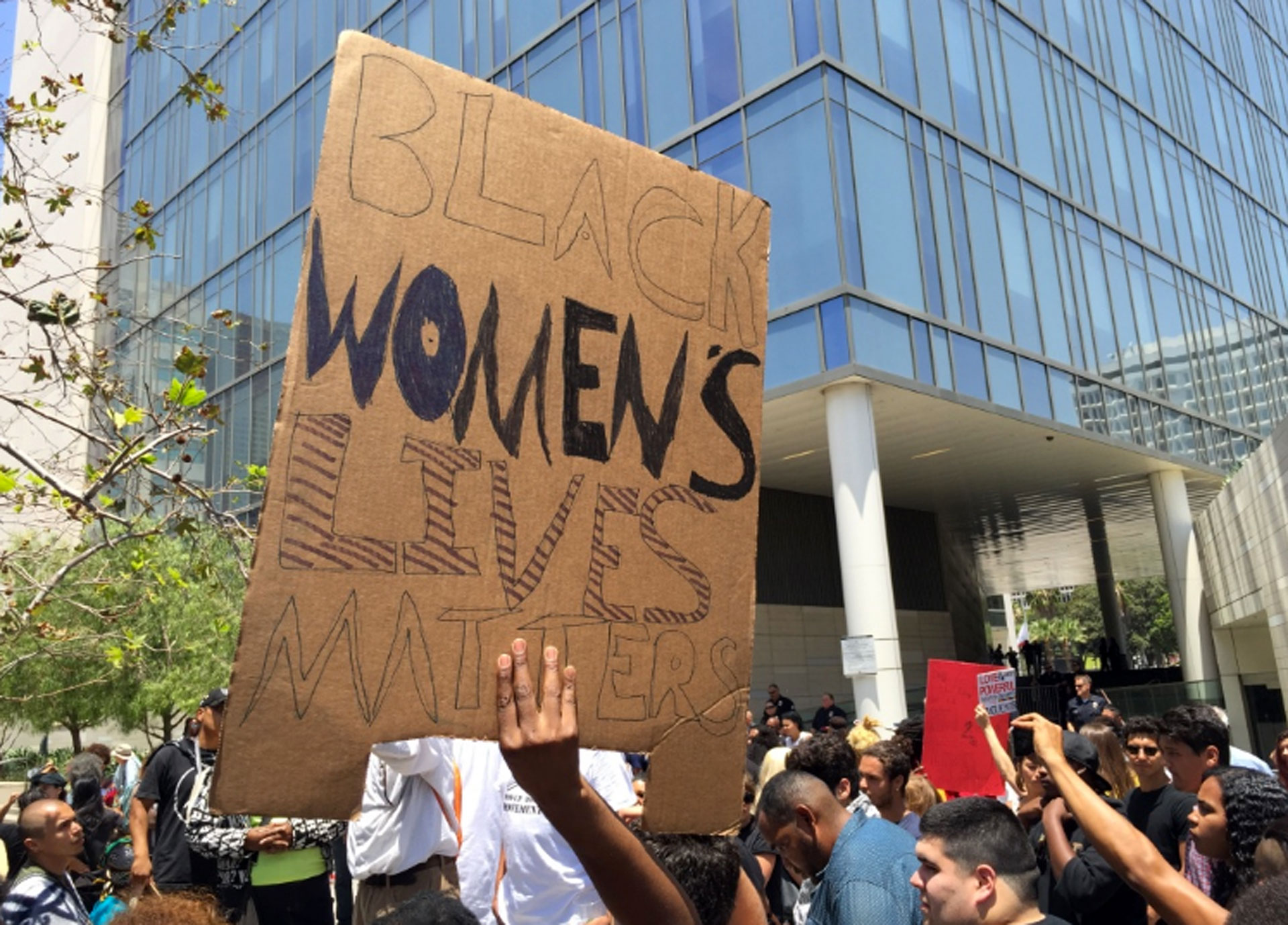 Black Lives Matter protesters assembled outside a meeting of the Los Angeles Board of Police Commissioners at LAPD headquarters on July 12, 2016. The commission was considering whether LAPD officers' shooting in August 2015 of a 30-year-old black woman, Redel Kentel Jones, was justified.