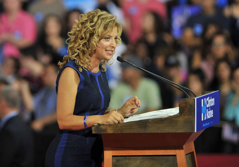 Former Democratic National Committee Chair Debbie Wasserman Schultz addresses a campaign rally for Hillary Clinton on July 23, 2016.