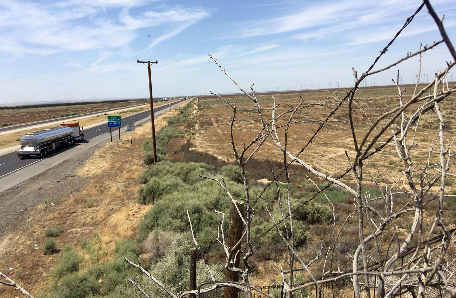 The proposed site for the Quay Valley development is right on the edge of Kern and Kings counties near Interstate 5. Ezra David Romero/KQED