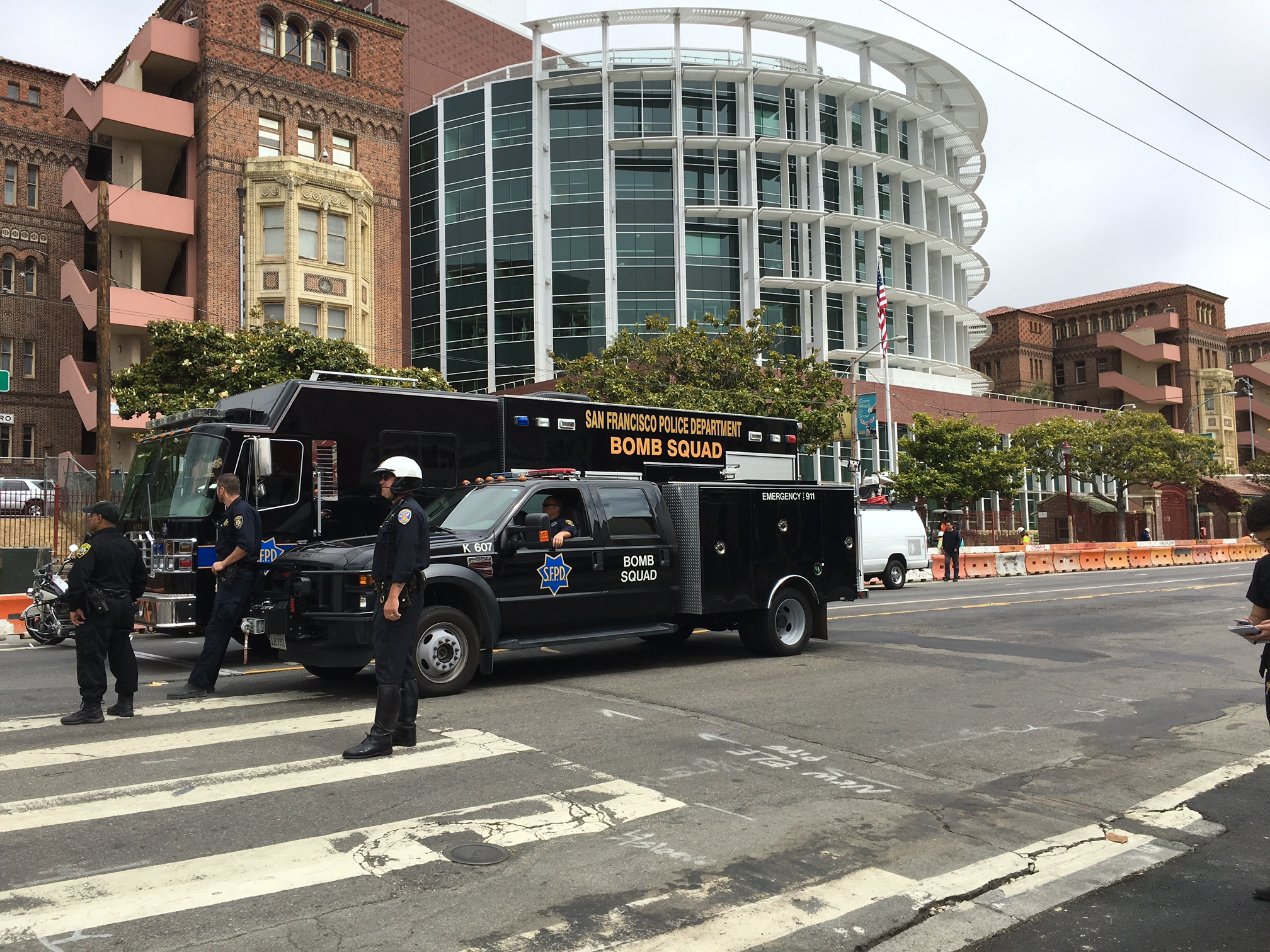 San Francisco Police Department bomb squad vehicles parked outside San Francisco General Hospital Thursday afternoon.