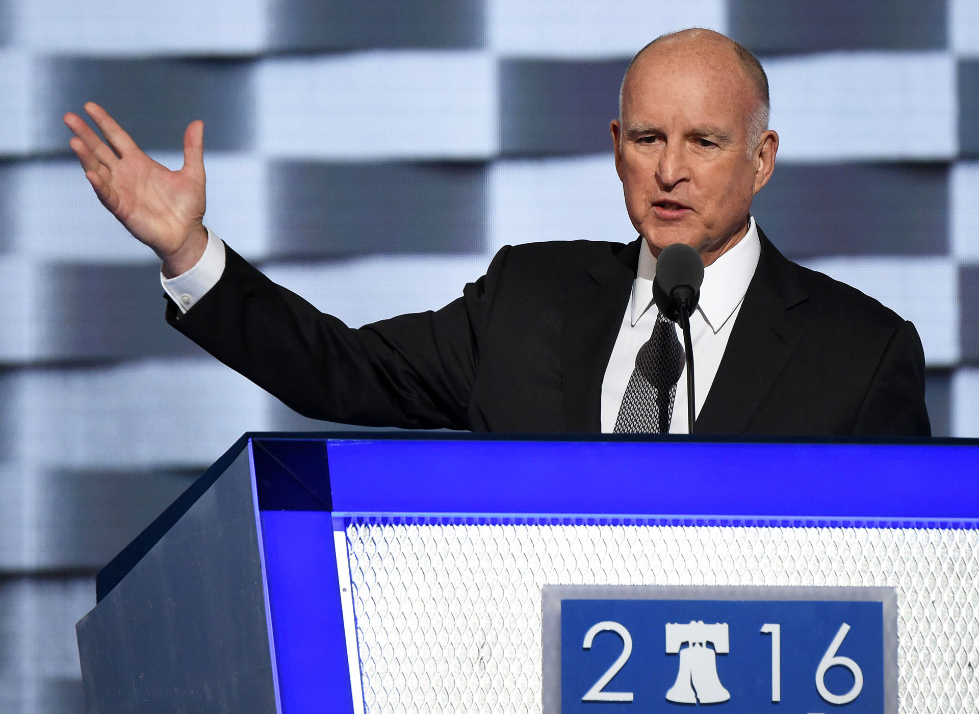 Gov. Jerry Brown speaks during day three of the Democratic National Convention in Philadelphia on July 27, 2016.