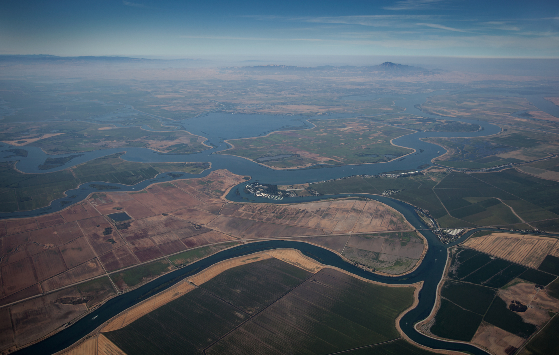 An aerial view of the Sacramento-San Joaquin Delta in August 2014.