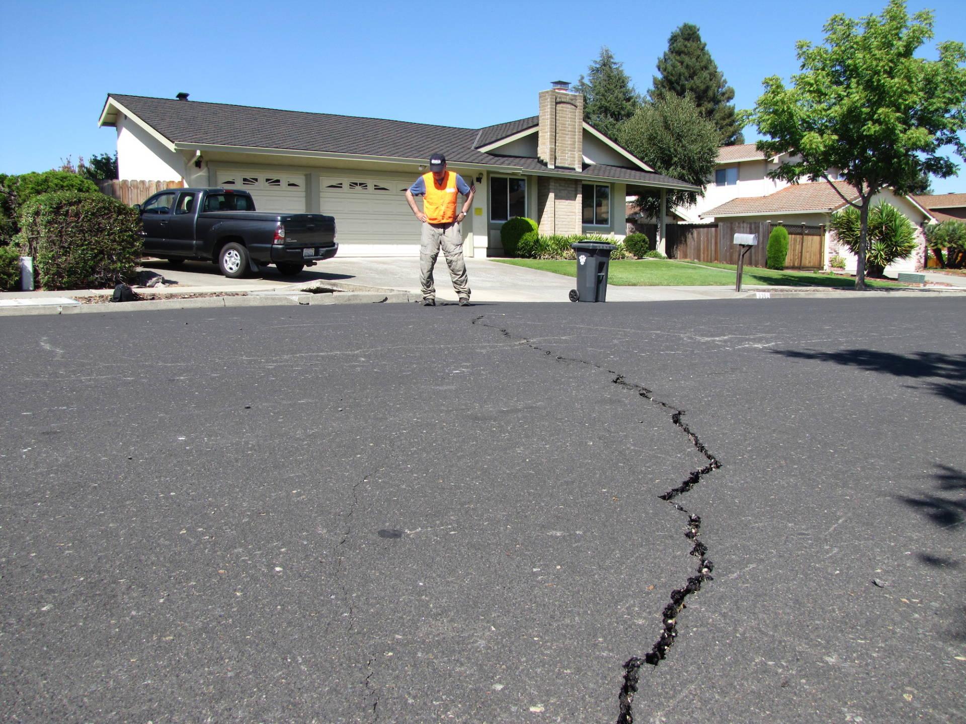 USGS Geologist David Schwartz ponders evidence of fault movement in a west Napa neighborhood.