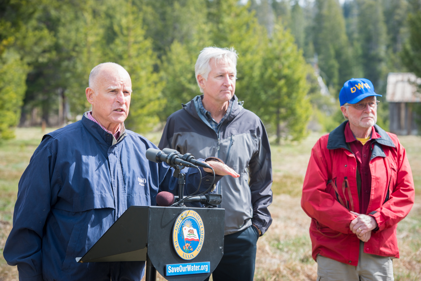 Gov. Jerry Brown speaking at a snow survey in 2015, when the California Department of Water Resources observed below-normal precipitation during unusually warm weather.
